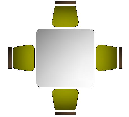 Square shape 3d dining table cad design block dwg file