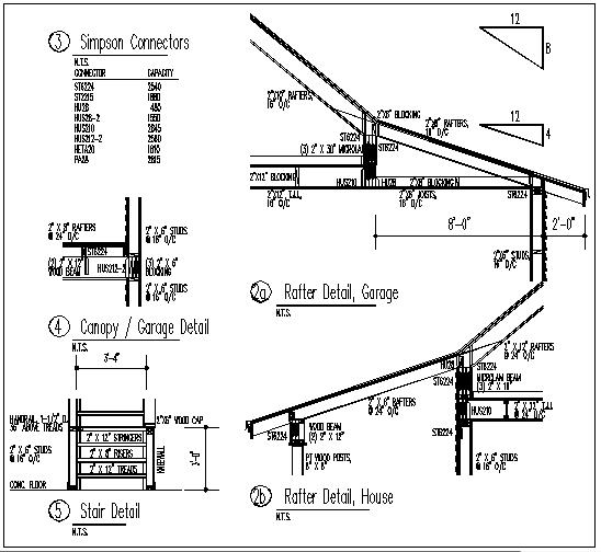 Stair, garage, rafter detail in garage, rafter detail in house plan details dwg file