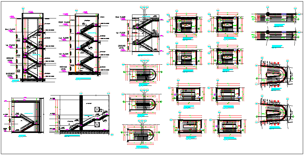 Stair Case Elevation of Corporate Building dwg file