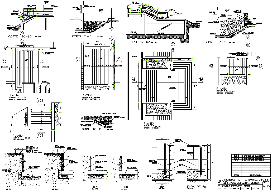 Stair Plan and section working plan detail dwg file