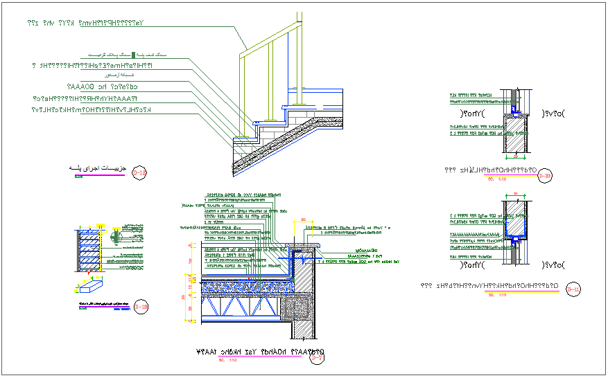 Stair and wall construction detail for apartment dwg file