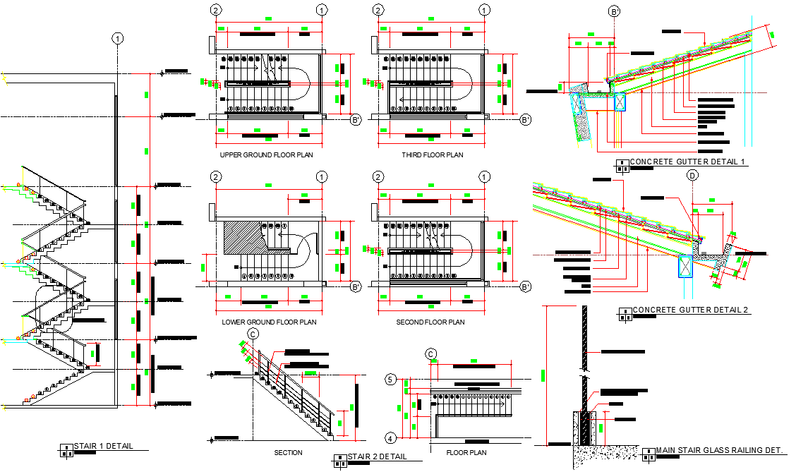 Stair plan and section detail dwg file