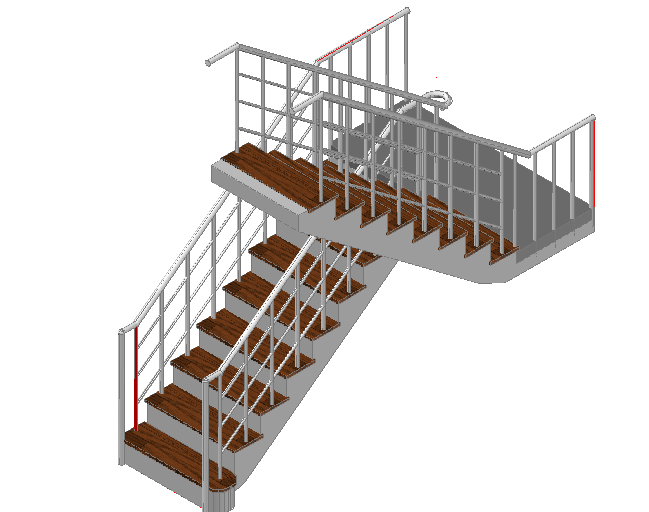 Staircase 3 D plan dwg file