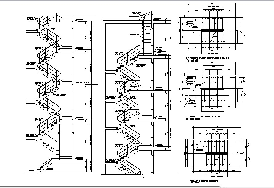Staircase design with detail dimension in dwg filev