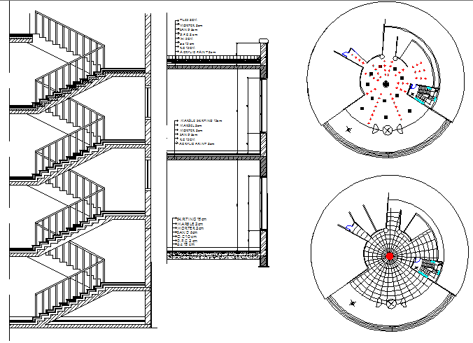 Staircase sectional and constructive details of office building dwg file