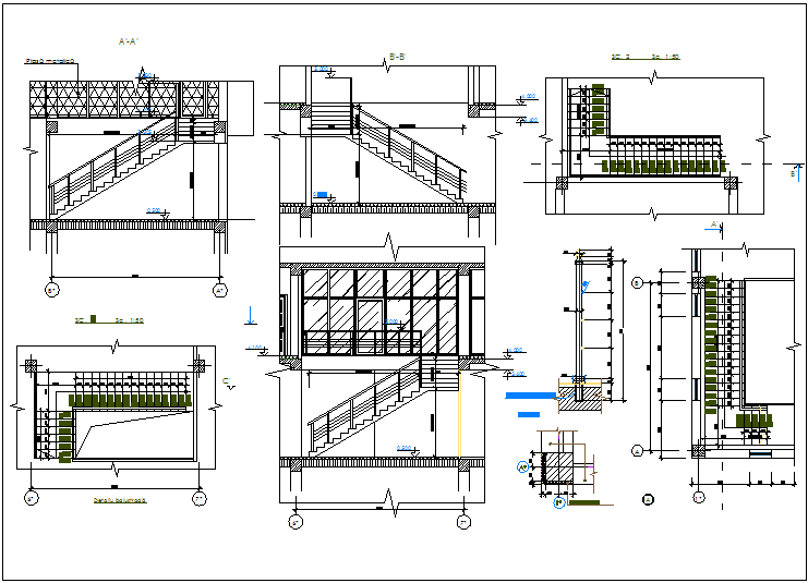 Stairs detail view dwg file
