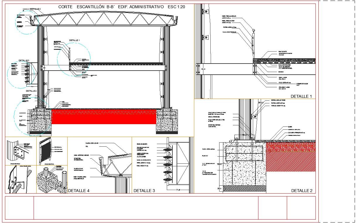 Steel detail of building cad files