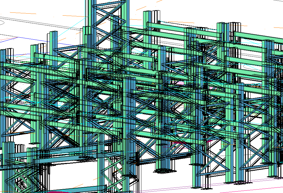 Steel framing 3 d plan dwg file