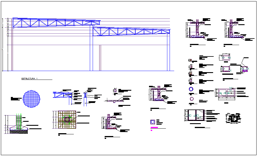 Steel structure view with detail for automobile dealer ship dwg file