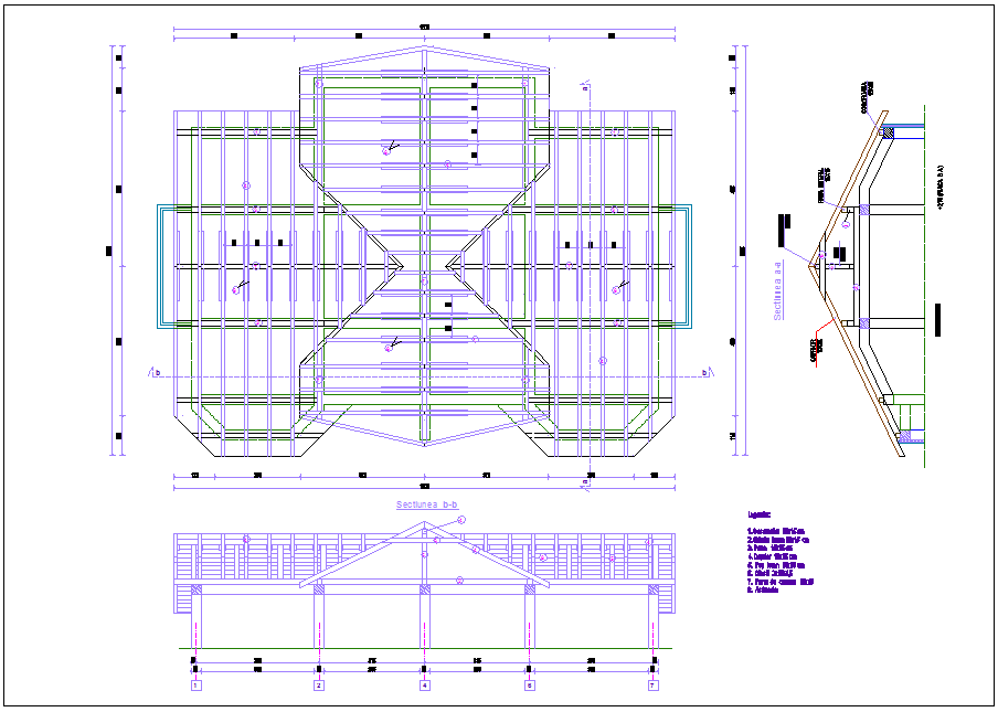 Steel structure view with plan and elevation of roof area for house dwg file