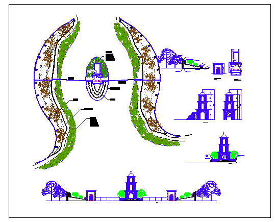 Steeple park landscaping and main gate elevation dwg file