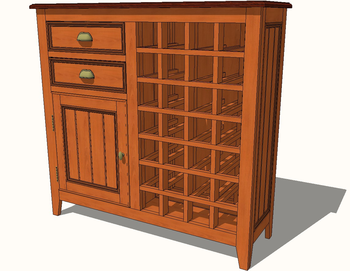 Stone field Country wooden Wine Cabinet 3d drawing details skp file