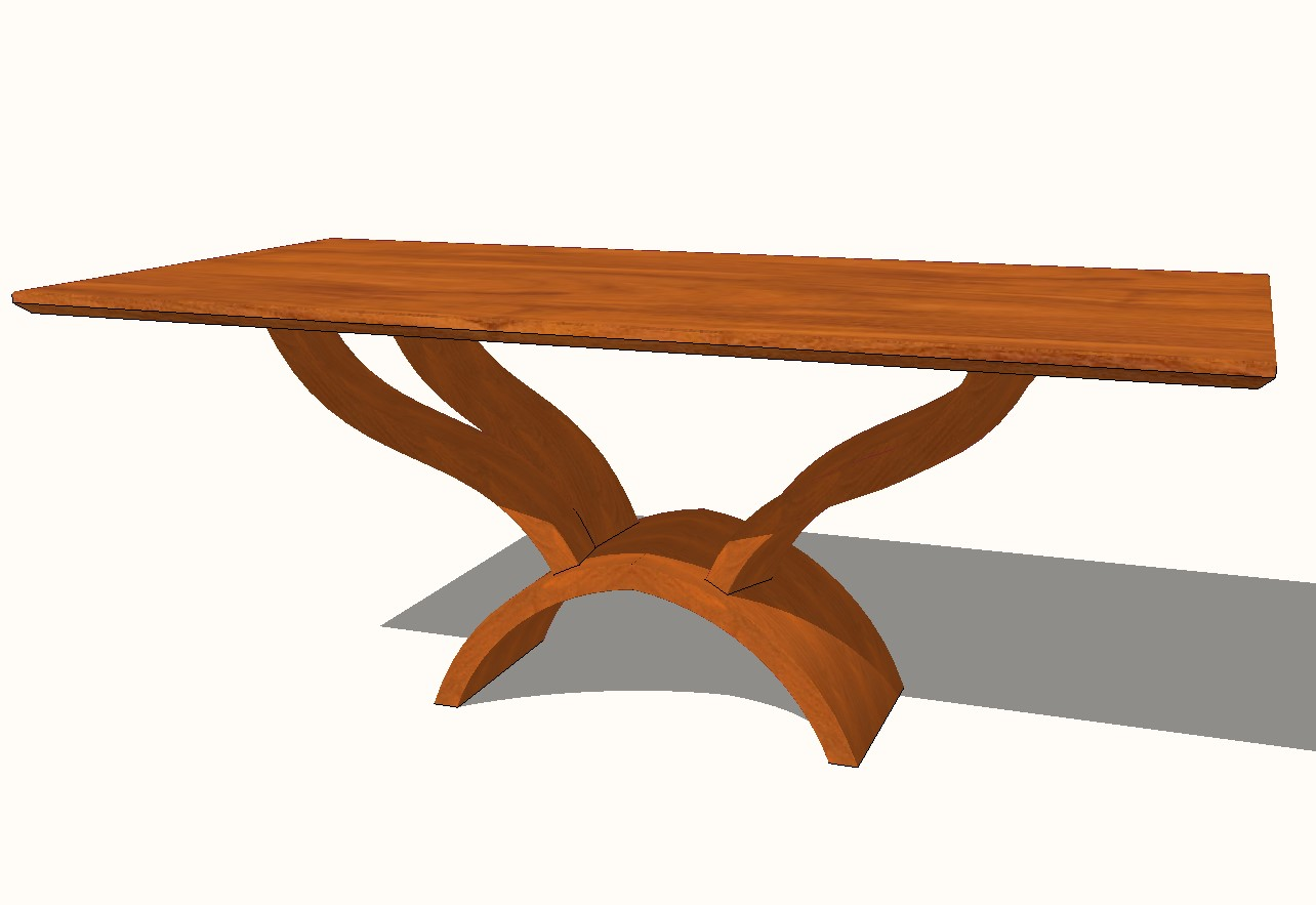 Stone field wooden dining table side elevation 3d block details skp file