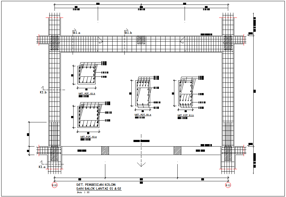 Structural view of column and beam with detail for head quarter dwg file