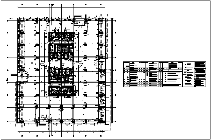 Structural view,  office building with column view & work schedule dwg file
