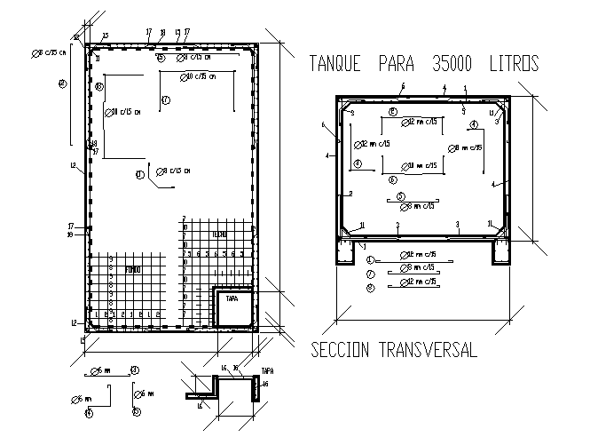 Structure Cross section detail in cad file
