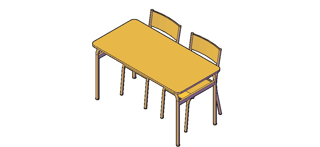 Study Table 3D Model In DWG File