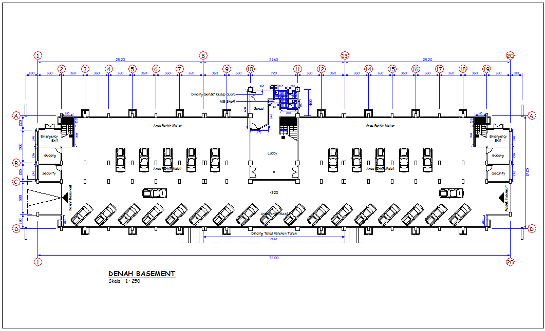 Sulawesi head quarter government building basement plan dwg file