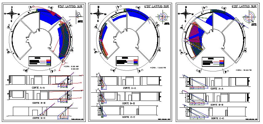 Sun Light Analysis Circular Building Project dwg file