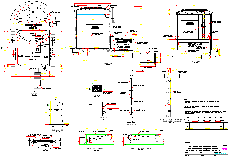Supported water reservoir 150m3 plan layout file