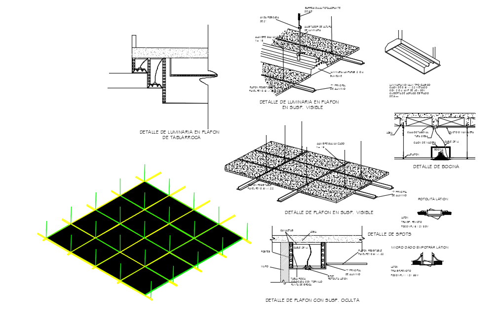 Suspend ceiling view with light assembly view dwg file