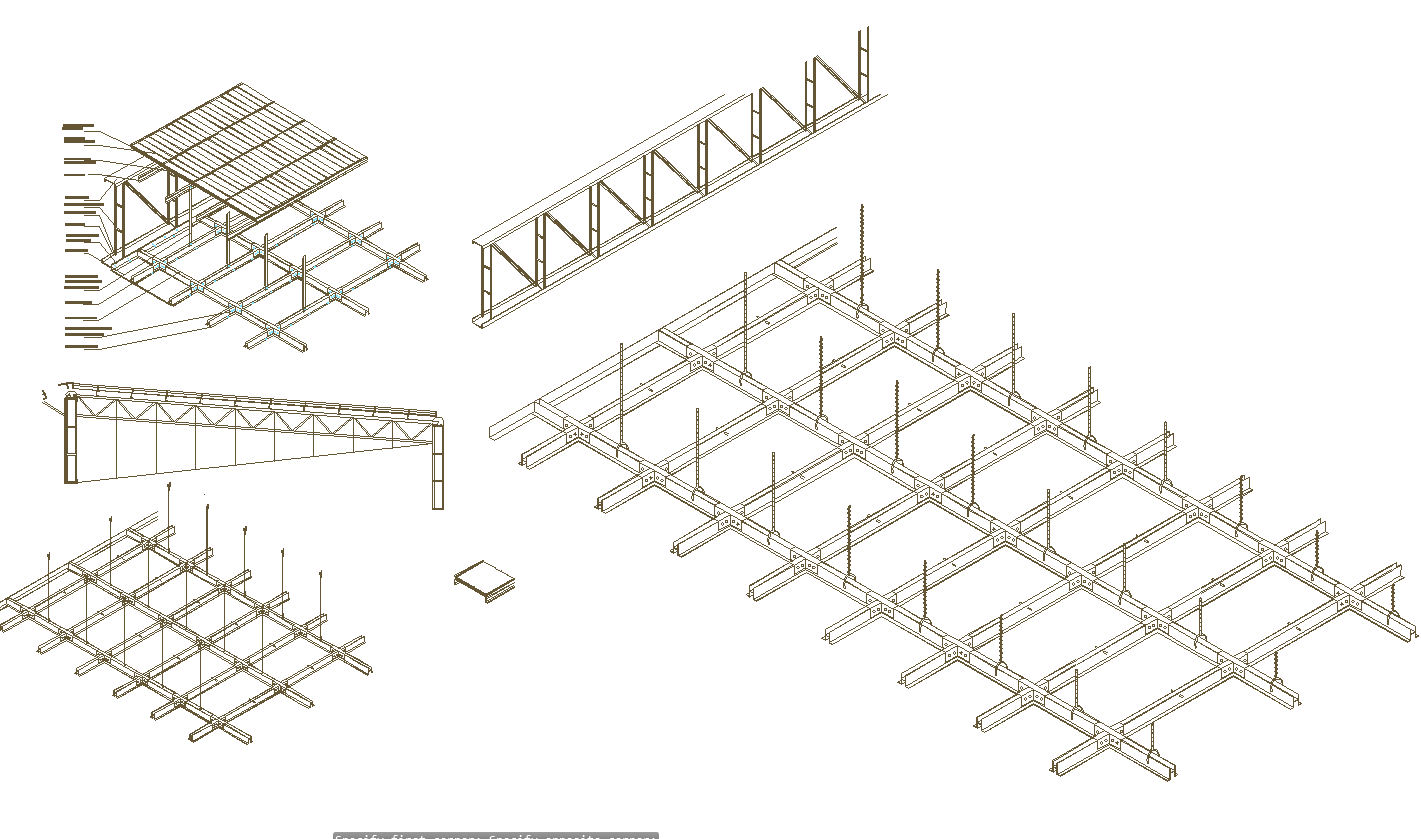 Suspended Ceiling Sections Detail In Autocad Dwg Files