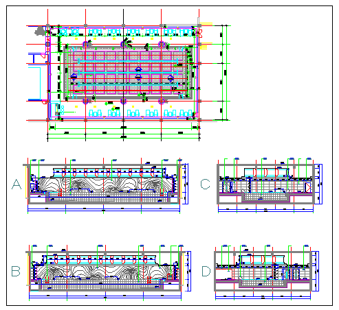 Swimming pool plan and elevation design drawing
