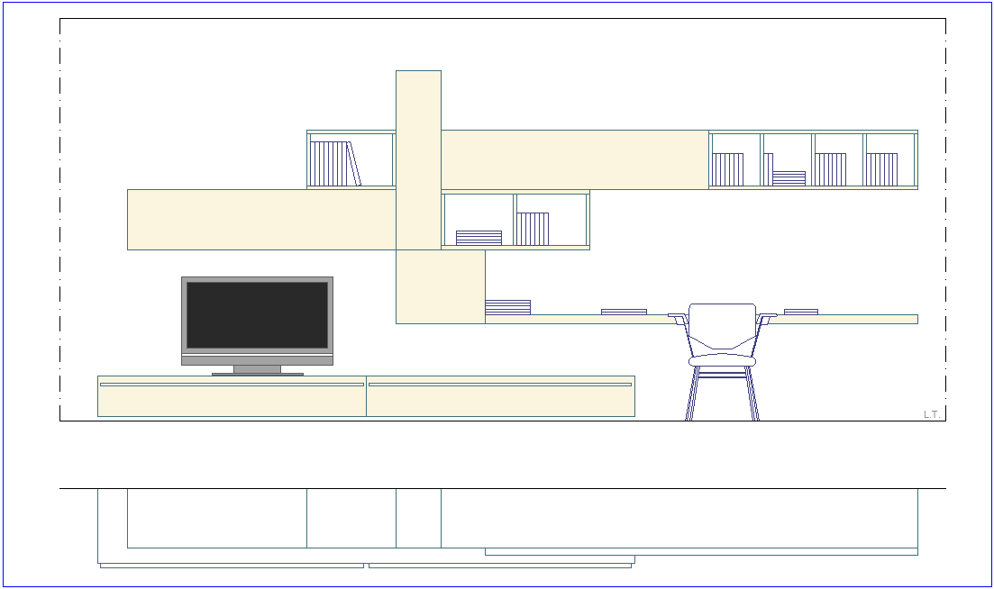 T.V unit elevation and plan view dwg file