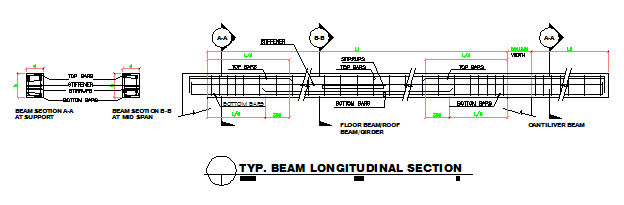 TYPICAL BEAM LONGITUDINAL SECTION DESIGN DRAWING
