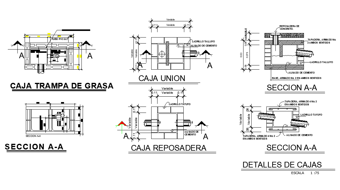 Tank plan and section detail autocad file