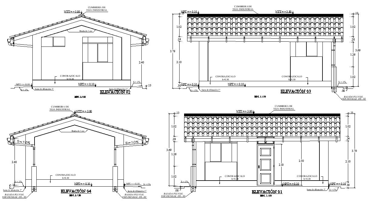 Teaching housing architecture elevation plan autocad file