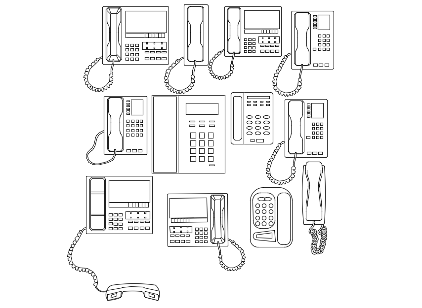 Telephone plan with different design with electric view dwg file