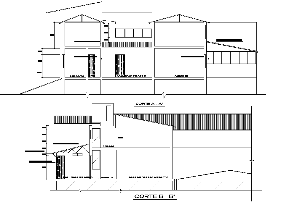 Television and radio recording studio remodel project section detail dwg file