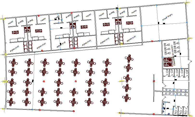 Terminal shopping mall architecture layout plan details dwg file