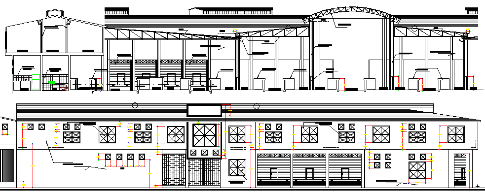 The Architecture Design of Government Museum Elevation dwg file