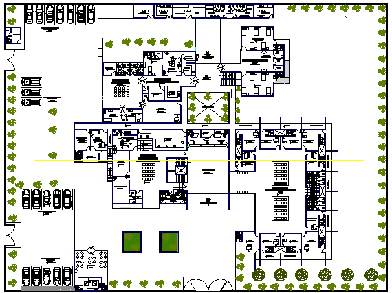 The Architecture Layout of Health Center Structure dwg file