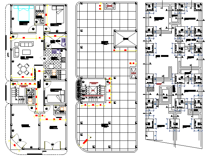 The Architecture Layout of Multi Family Housing Project dwg file