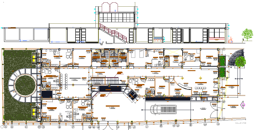 The Architecture Plan of Health Center Elevation dwg file