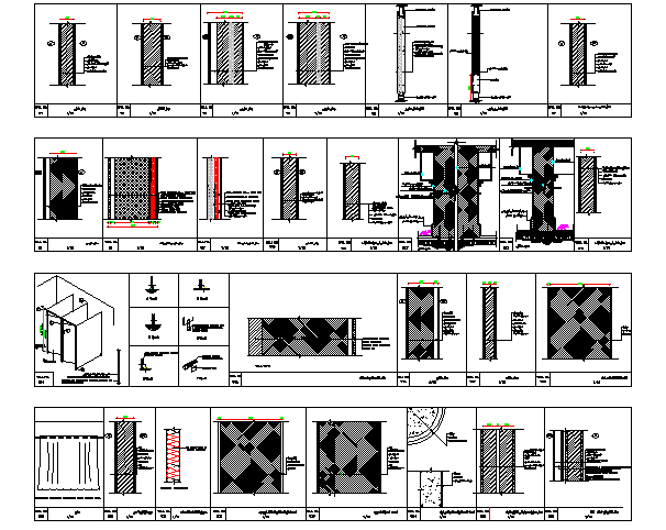 The Architecture Plan of Wall Construction dwg file
