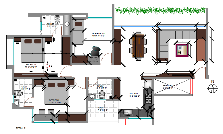 The architecture layout plan details of house dwg file