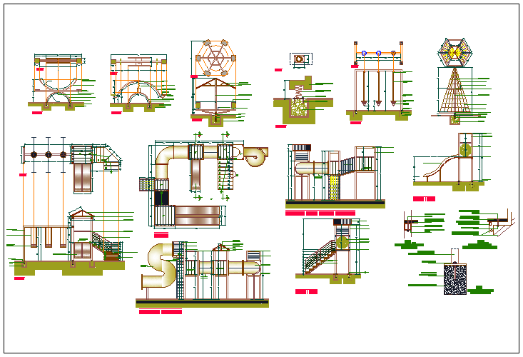 The architecture project details of play ground dwg file