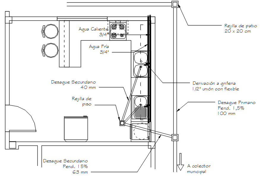 The kitchen layout in dwg file