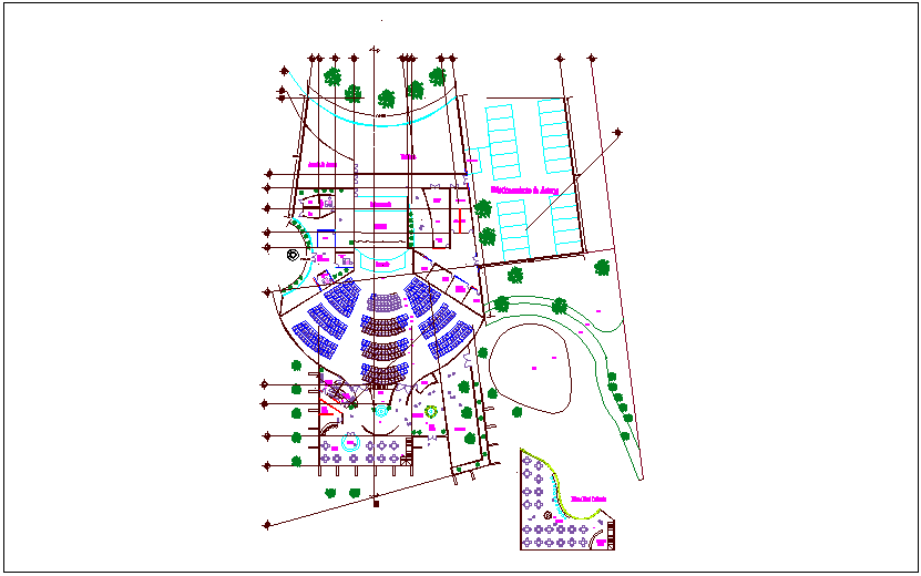 Theater of 350 spectators plan dwg file