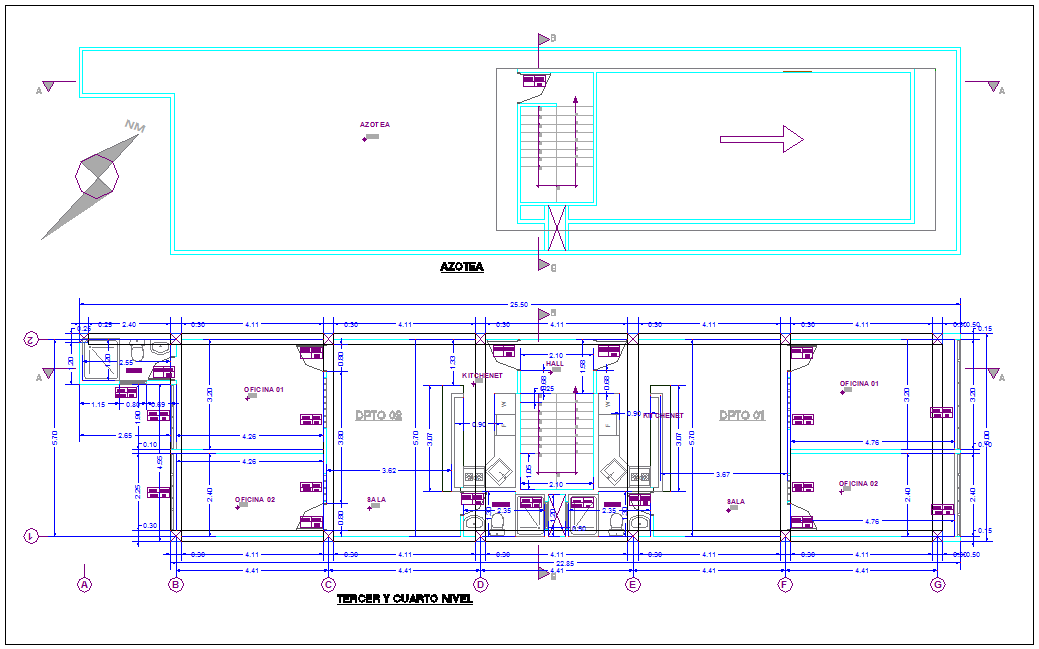 Third floor plan with roof top plan of commercial building dwg file