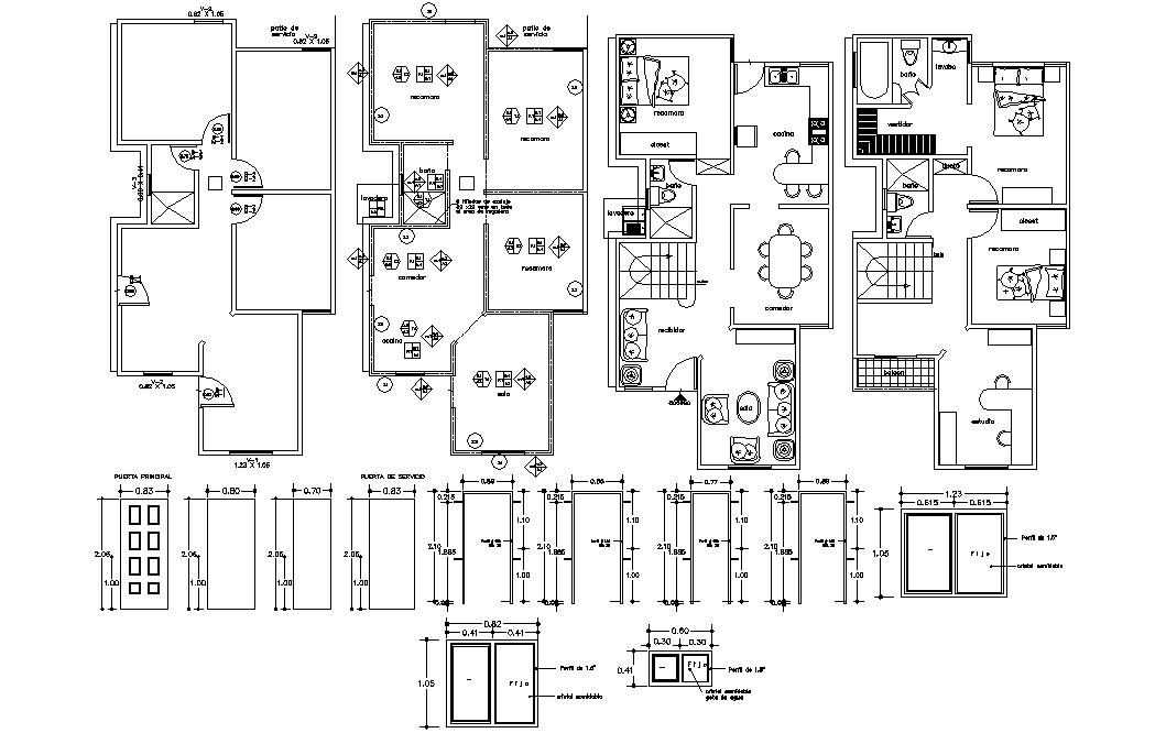 Three BHK Furnished Bungalow Layout Plan design