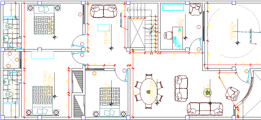 Three Flooring Residential Housing Building Structure Details dwg file