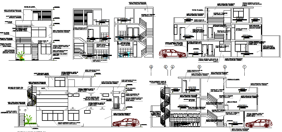 Three flooring bungalow elevation and sectional view details dwg file