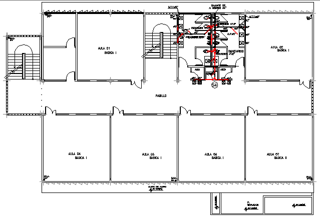 Three flooring compact school building layout plan dwg file