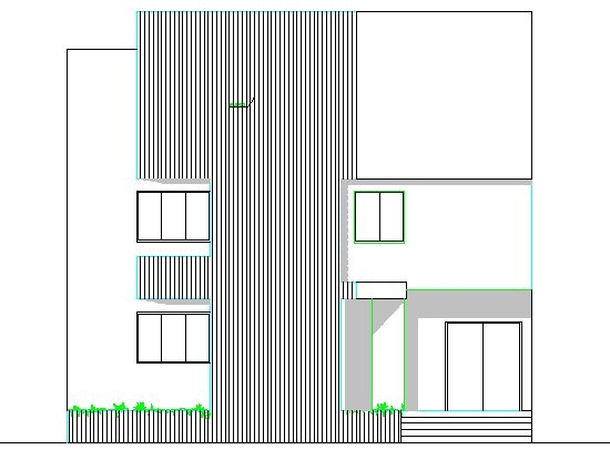 Three flooring corporate office building elevation details dwg file