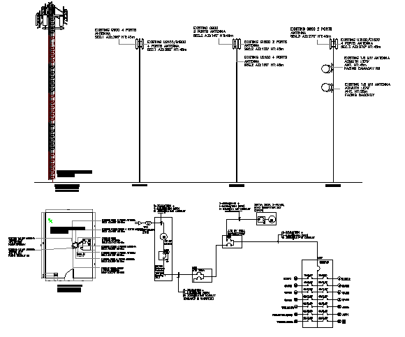 Three legged SST tower electric installation details dwg file